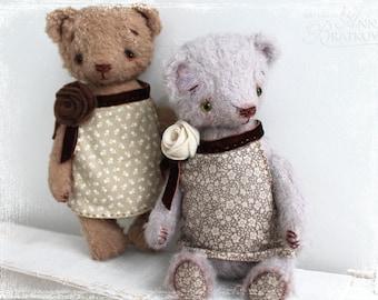 Artist Traditional Teddy Bear Lavender Rose OOAK 7 inch