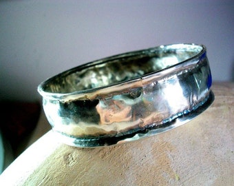 Hammered Wide Solid Silver Bangle, Hammered Sterling Bracelet, Handcrafted Jewelry