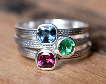Custom stacking ring, unique mothers ring stackable mothers ring silver, birthstone rings for mom, gemstone ring sterling silver, custom