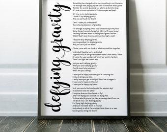 Wicked Musical Defying Gravity Poster | Typography | Wicked Musical Print | Musical | Defying Gravity Song Lyrics | Wall Art | Home Decor