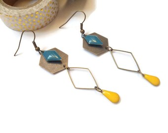 Blue and yellow brass earrings