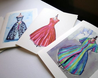 Blank Fashion Notecards, Vintage Dress Watercolor Art Note Cards Ed. 3, Set of 8