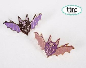 black or  purple chubby bats hard enamel pins