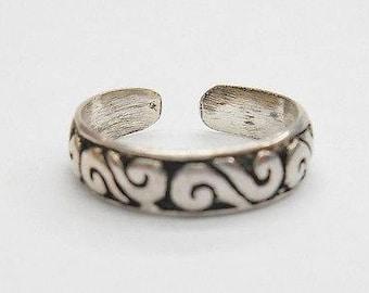 Toe Ring, Sterling Toe Ring, Vintage Toe Ring, Silver Toe Ring, Sterling Silver S Filigree Design Toe Ring #1141