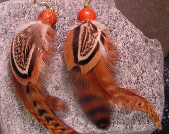 Cree Pheasant Feather Earrings