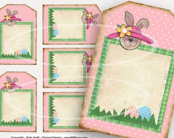 Easter Rabbit Tags, Easter Basket Tags, Instant Download, Printable Easter Bunny Tags, Scrapbook clipart, Pink rabbit Decor, craft supplies