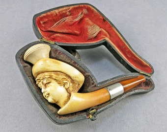 Antique Carved Meerscham Pipe With Yellow Amber And Sterling Band Smoking Collectibles Victorian Antiques Collectibles