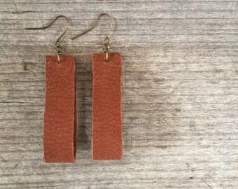 Dark Brown Leather Earrings - Leather Earrings - Boho Earrings - Leather Drop Earrings -Leather Dangle Earrings - Gift for Her - Boho Chic