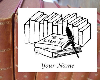 """Exlibris stamp or stickers """"Books with pinfeather"""", bookplate stamp or self adhesive stickers, personalized exlibris, custom exlibris"""