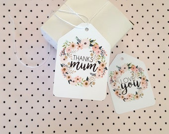 Thanks Mum Gift Tags | Love You Gift Tags | Mother's Day Gift Tags (6) | Floral Wreath Gift Tags