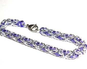 Byzantine Chainmaille Bracelet | Hand Crafted Chainmaille Jewelry | Handmade Bracelet | Purple and Silver | Anodized Aluminum