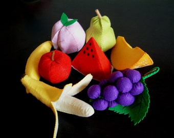 DIY Lovely fruit set 2(Watermelon,banana,peach,pear,grape,honeymelon)--PDF Pattern via Email--V03