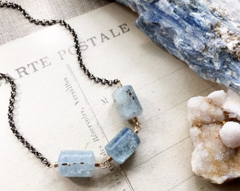 S e r e n i t y...Kyanite Choker necklace, Black spinel, Aries, boho, dreams, tranquility, Throat chakra, layering necklace FREE SHIPPING