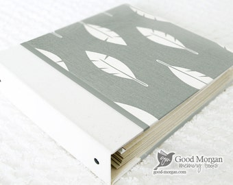 5 Year Baby Memory Book  - Grey Feathers