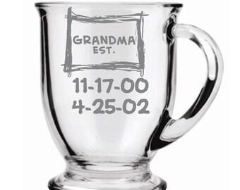 Grandma Established Choice of Pilsner, Beer Mug, Pub, Wine Glass, Coffee Mug, Rocks, Water Glass   with Grandkids Birthdates Sand carved