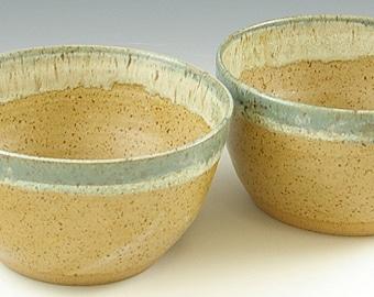 Set of Two 2 Medium Size Pottery Bowls, 24 oz. bowls, Pair Pottery Prep Bowls,Pottery Housewarming Gift, Soup, Dessert, Wedding Kitchen Gift