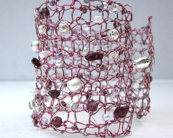 Handcrafted Knit Silver & Pink Copper Wire Cuff Bracelet