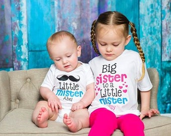 Big Sister Little Brother Shirts - Personalized Big Sister Shirt - Big Sister Little Brother Shirt Set - Big Sister Little Brother Gift