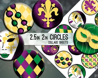Digital Collage Sheets Mardi Gras Carnival 2.5 Inch and 2in Circle Download Printable Images for Gift Tags Cards Scrapbooking JPG