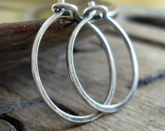 Lil' Every Day Hoops - Handmade. Oxidized Sterling Silver