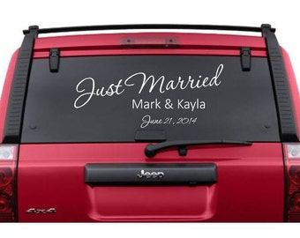 Just Married Decal | Personalized Wedding Car Decal | Just Married Sign | Wedding Decor | Custom Car Decal | CE20-1