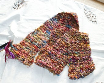 multi-cloured scarf/ wrap up-cycled silk fibres