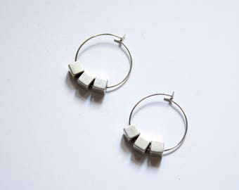 Cube -earrings (minimal cube charms on 16K polished gold plated hoops)