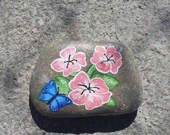Painted Rock Flowers w/Butterfly