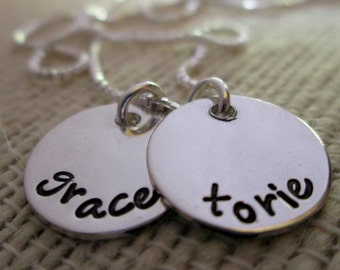 Mother's Necklace - hand stamped necklace - Two Little Ones  - personalized  necklace -