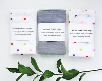 ON SALE 2 Reusable produce bags, zero waste, dawstring upcycled bulk bags produce bag plastic free reusable food bag eco cotton recycled pro