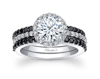 Barkevs Black & White Diamond Halo Engagement Ring Set, ForeverOne Moissanite Engagement, Avail with Diamond or Moissanite Center, 7895 S2BK