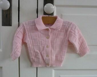 Vintage Pink Baby Sweater Spring Fall Girl Cardigan