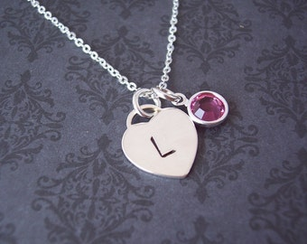 Heart Necklace - Dainty Necklace - Custom Jewelry - Personalized Jewelry - Hand stamped jewelry - Say Anything Jewelry