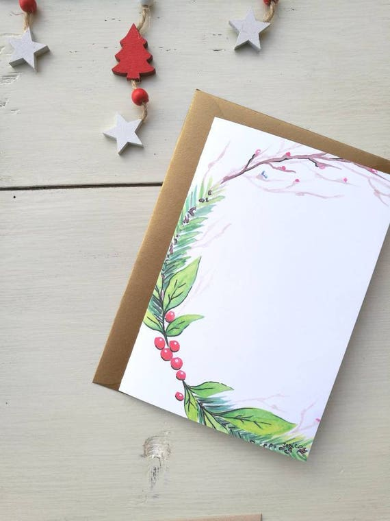 Christmas card, greeting card, personalized card, watercolor, Christmas card, dedication/personalized phrase-garland #2