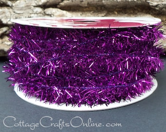 "Halloween Wired Tinsel Ribbon,  3/8"" Purple Metallic Fringe Tinsel -TWENTY FIVE Yard Roll - Offray ""Chazy""  Mardi Gras, Ribbon"