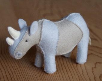 Felt Rhino Soft Toy Sewing Pattern PDF