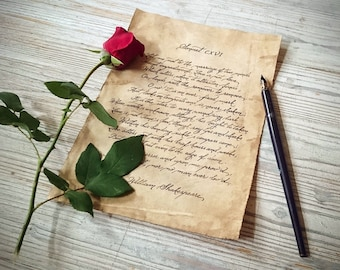 custom love letter, wedding vows calligraphy on vintage style paper handwritten anniversary romantic gift old handwriting escape room prop