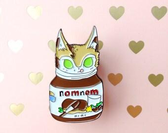 SALE - Mags the kitten enamel pin! Nutella hazelnut spread cat pin. Cute!