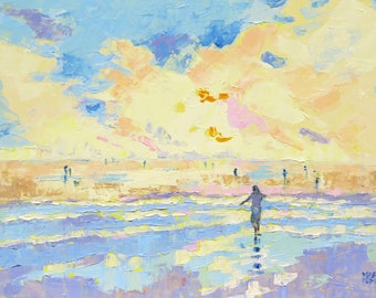 "Fine Art Print. ""Long Lost Days"". Modern Art from Original Oil Painting. Contemporary Beach Scene. Seascape . Giclee Print."