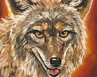 Coyote art print, Coyote decor. Coyote print from original canvas painting