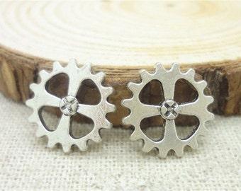 10Pcs - Steampunk Gear Charm 14mm Antique Silver Clockwork Cog Wheel Gearwheel Mechanical Watch Gear Clock Parts Decoration