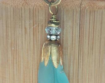 Turquoise beach glass pendant