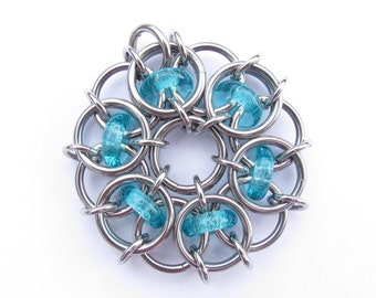 Chain Maille Pendant, Glass Pendant, Blue Pendant, Turquoise Blue Glass and Stainless Steel Pendant