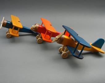 Handmade Wooden Toy Biplane/Natural Finish