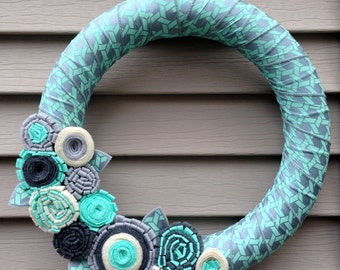 Winter Wreath - Holiday Wreath - Geometric Wreath - Felt Flower Wreath - Ribbon Wreath - Ribbon and Felt Flower Wreath - Teal Wreath- Ribbon