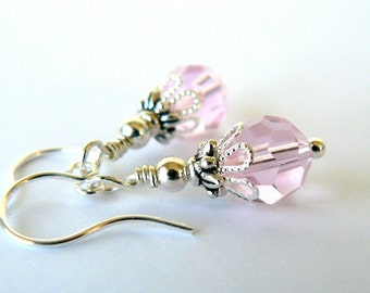 Pink Earrings, Cotton Candy Pink Bridesmaid Earrings, Crystal Dangle Earrings, Pink Wedding Jewelry, Vintage Style Bridesmaid Jewelry