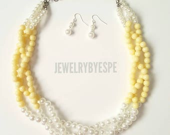 Yellow Statement Necklace, Pearl Necklace, Chunky Bib Necklace, Yellow Wedding Jewelry,  Ivory cream Multi Strand Necklace Gifts for her