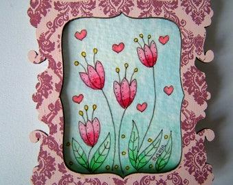 Original Watercolour Art Hand Painted Magnet of Flowers