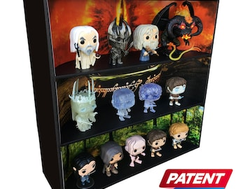 Exclusive Stackable Funko Pop Classic Display with 3 Lord of the Rings Backdrop Inserts, Black Corrugated Cardboard (Toys not included)