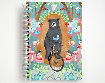 Bicycle Riding Bear Notebook | Journal | Studio Carrie Notebook | Gift